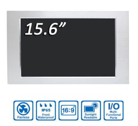 Panel PC 15.6 Aluminio IP65 Frontal Kingdy SP156R005S