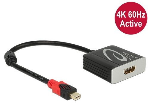 Conver. Mini-DisplayPort 1.2  M -> HDMI A H 4K 60 Hz Activo Parade PS176 de 20 cm Delock