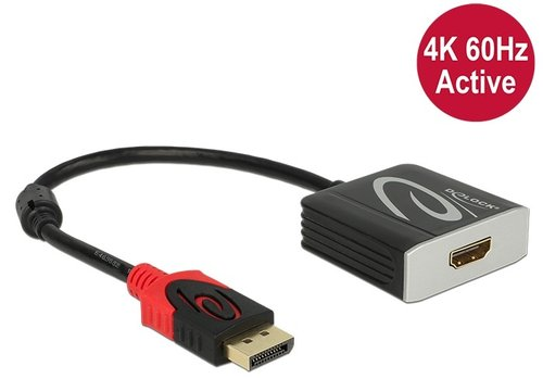 Conver. DisplayPort 1.2 M -> HDMI A H 4K 60 Hz Activo Parade PS176 de 20 cm Delock