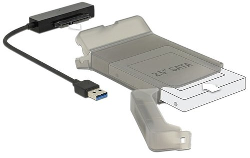 Adapt. USB 3.0 AM <-> SATA III 22 pins. HD 2.5 de 9.5 mm + caja protectora  Delock