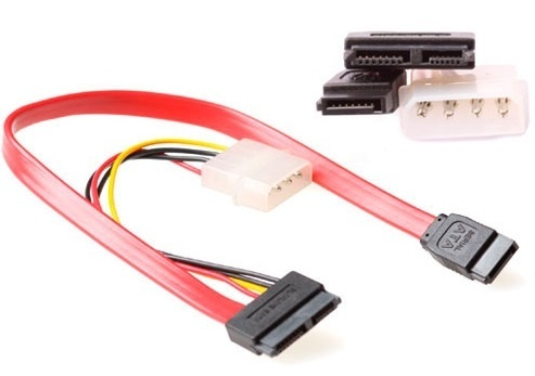Cable SATA II 7 pin. + MOLEX 5.25 M 4 pins <-> Slim SATA 6+7 pin. de 0.30 cm para CD-DVD slim