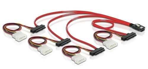Cable Mini-SAS 36 pin SFF-8087 M <-> 4x SAS 29 pin. SFF-8482 + Molex 5 1-4 de 1 mts Delock