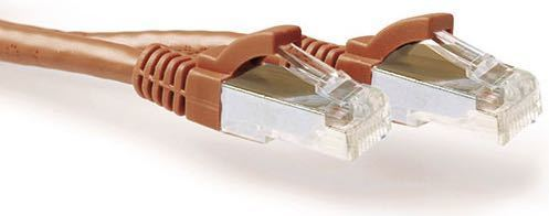 Lati. Cat6a RJ45 0.5 M SSTP AWG26 Marron con capuchon protector ACT