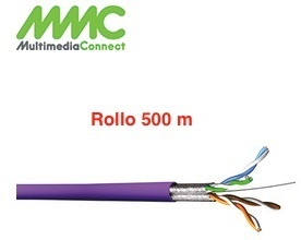 Cable FTP Cat6A Solido AWG23 LSZH Rollo 500 mts Violeta Multimedia Connect 5254SH5