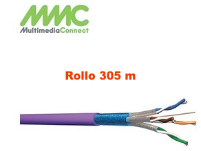 Cable FFTP Cat6A Solido AWG23 LSZH Rollo 305 mts Violeta Multimedia Connect F5554SHB