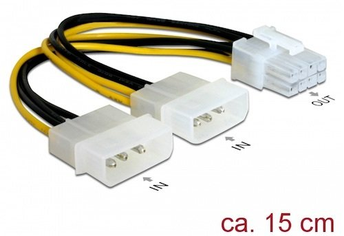 Cable Ali. Int. Molex 2 x 5.25 <-> PCI Express 8pin M para Tarjeta Grafica de 0.15 mts Delock