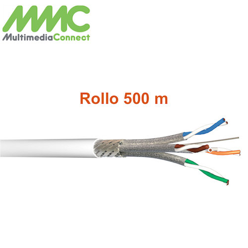 Cable SFTP Cat6A Solido AWG23 LSZH Rollo 500 mts Blanco Multimedia Connect SF5004SHWC5