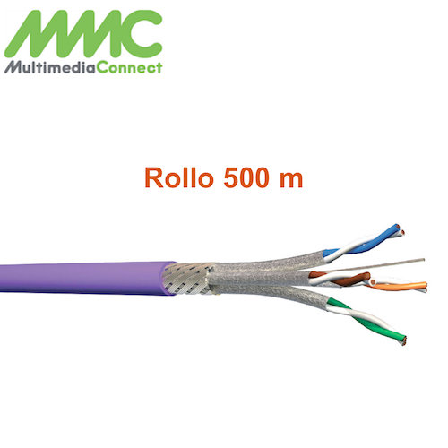 Cable SFTP Cat7 600Mhz Solido AWG23 LSZH Rollo 500 mts Purpura Multimedia Connect 6004SHC5