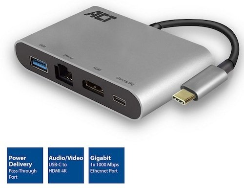 Conver. USB 3.1 Gen 1 C M -> HDMI A H + RJ45H 1000Tx + USB A H + USB C H Power Metalico ACT