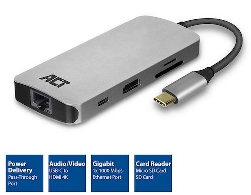 Dock USB 3.1 Gen 1 C M <-> 1000Tx +HDMI +2x USB 3.0 AH +SD +Micro SD +USB Power Metalico ACT