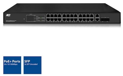 Switch 24x 10-100Tx PoE+ 390W + 2x SFP Rack 19 ACT