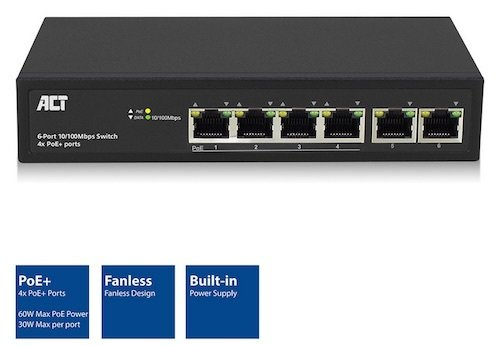 Switch 6x 10-100Tx 4x POE+ 60W Rack 19 ACT