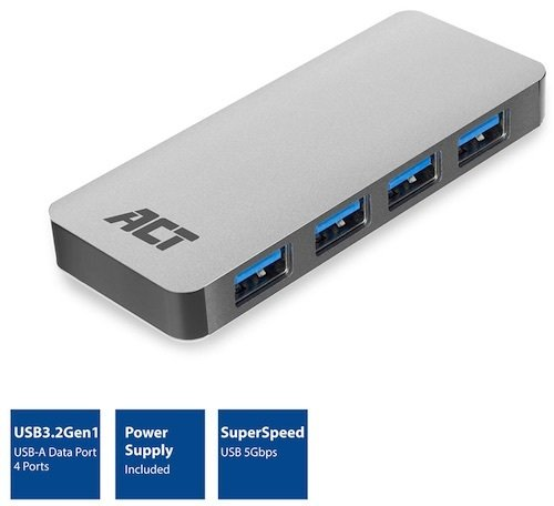 Hub USB 3.2 Gen 1 AM -> 4x USB AH + Power ACT