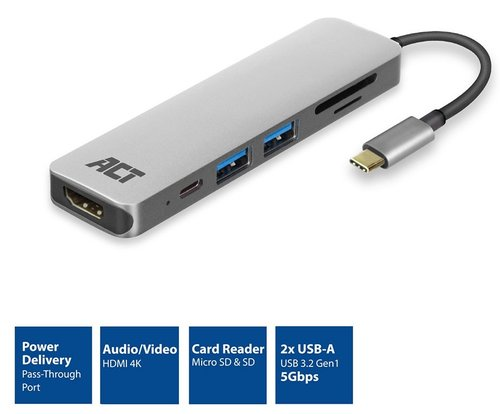 Conver. Multipuerto USB 3.2 Gen 1 CM -> HDMI 2.0 AH 4K +2xUSB AH +SD+MicroSD +USB Power Metalico ACT